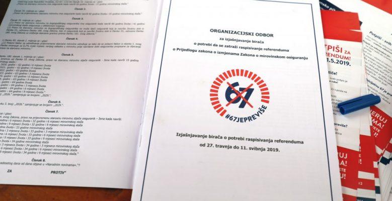 Prikupljeno 748.624 potpisa za referendum o izmjenama Zakona o mirovinskom osiguranju, predaja u Hrvatski sabor u četvrtak, 13. lipnja